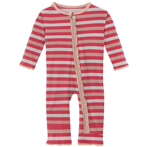 KICKEE PANTS PRINT MUFFIN COVERALL WITH ZIPPER IN HOPSCOTCH STRIPE