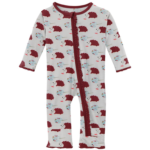 KICKEE PANTS PRINT MUFFIN RUFFLE COVERALL WITH ZIPPER IN NATURAL ART CLASS- BB1121197