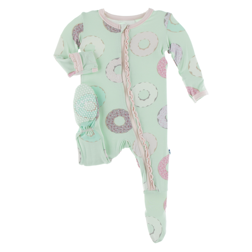KICKEE PANTS PRINT MUFFIN RUFFLE FOOTIE WITH ZIPPER IN PISTACHIO DONUTS