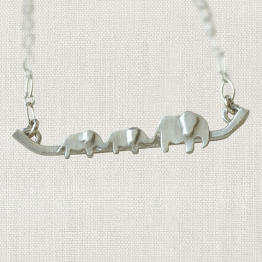 """SWOON 2 BABY ELEPHANT NECKLACE 18"""" STERLING SILVER NECKLACE"""