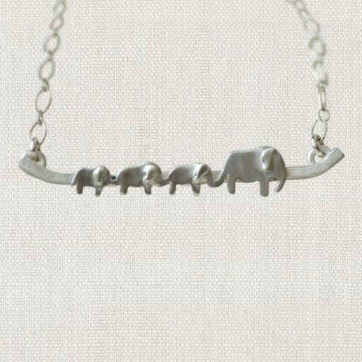 """SWOON 3 BABY ELEPHANT NECKLACE 18"""" STERLING SILVER NECKLACE"""
