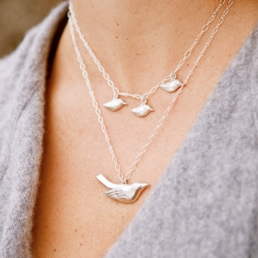"""SWOON 3 BABY BIRD 17"""" STERLING SILVER NECKLACE"""
