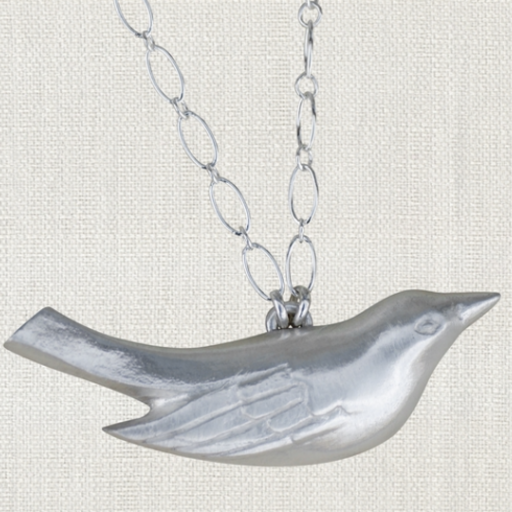 """SWOON MAMA BIRD NECKLACE 17"""" STERLING SILVER NECKLACE"""