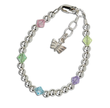 CHERISHED MOMENTS, LLC SILVER BRACELET WITH SILVER BEADS AND PASTEL CRYSTALS