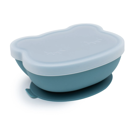 WE MIGHT BE TINY BEAR STICKIE BOWL (with lid) BLUE DUSK