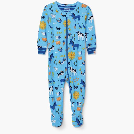 HATLEY BARNYARD FRIENDS ORGANIC COTTON  FOOTED COVERALL