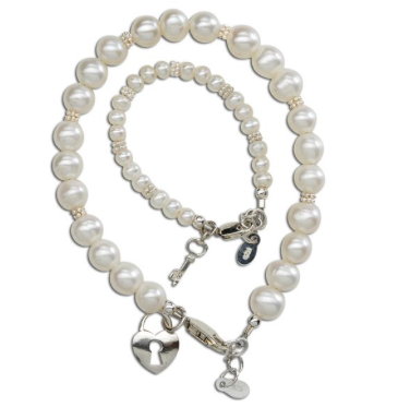CHERISHED MOMENTS, LLC KEY TO YOUR HEART- MOM & ME KEY TO MY HEART PEARL BRACELET SET