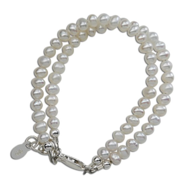 CHERISHED MOMENTS, LLC SILVER BRACELET WITH DOUBLE STRAND OF PEARLS, SILVER, LG