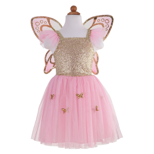 DOUGLAS CO. GOLD BUTTERFLY DRESS WITH WINGS