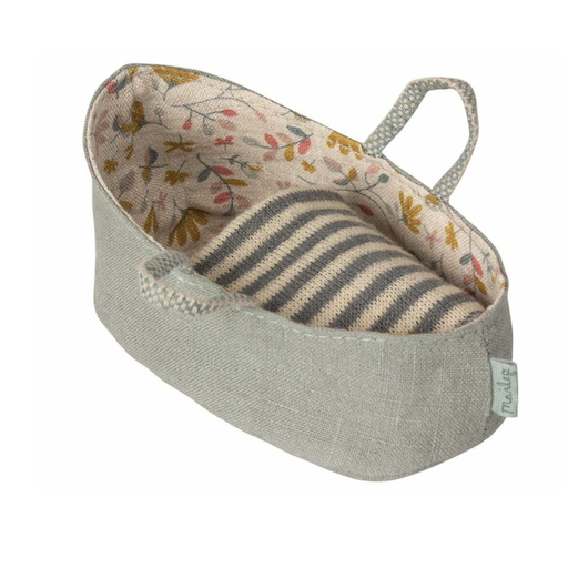 MAILEG CARRY COT, MY, DUSTY GREEN
