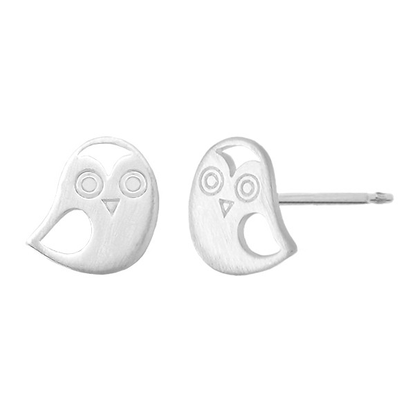 BOMA STERLING SILVER STUD EARRING OWL MATTE FINISH