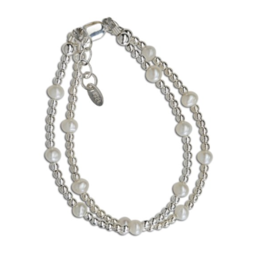 CHERISHED MOMENTS, LLC SILVER DOUBLE-STRANDED BRACELET WITH SILVER & PEARLS, SILVER, LG