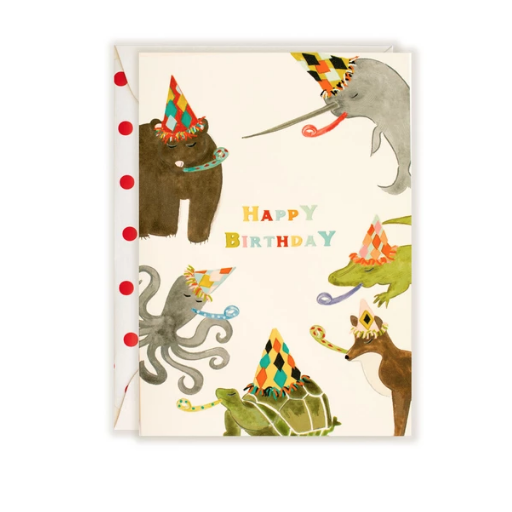 THE FIRST SNOW ANIMAL PARTY HAPPY BIRTHDAY CARD