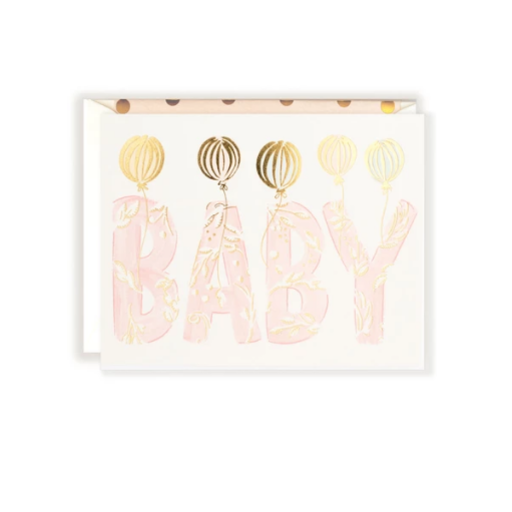 THE FIRST SNOW FOIL BABY BLUSH LETTERS CARD