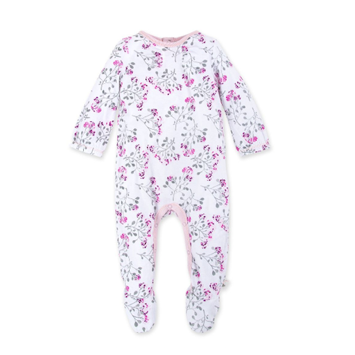 BURT'S BEES BABY MOSAIC BLOOM  ORGANIC BABY FOOTED JUMPSUIT