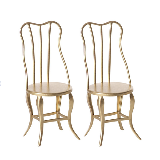 MAILEG VINTAGE CHAIR, MICRO- GOLD, 2 PACK