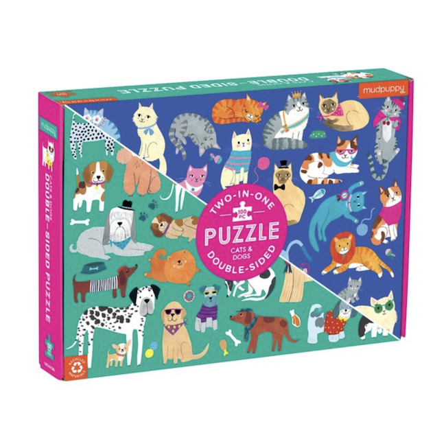 HACHETTE MUDPUPPY CATS AND DOGS 100 PIECE DOUBLE-SIDED PUZZLE