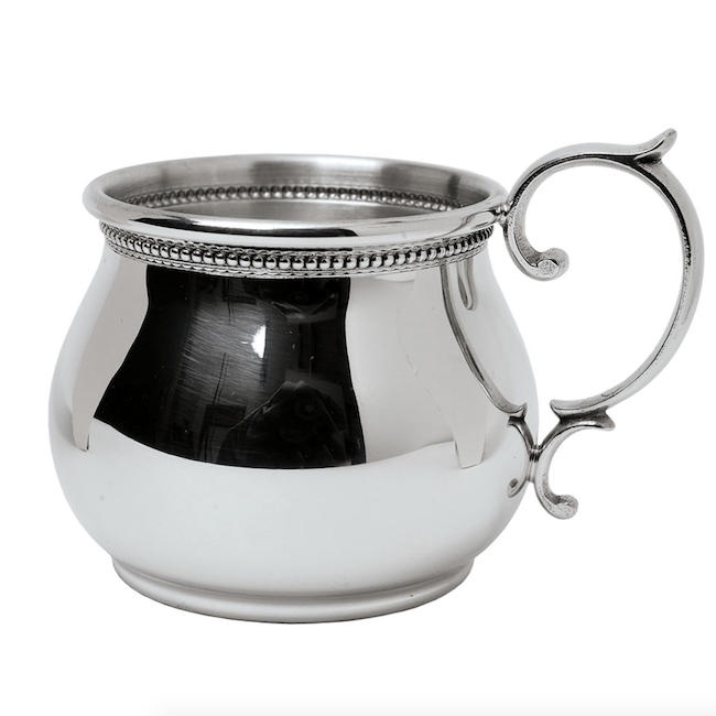 SALISBURY BEADED SCROLL HANDLE BULGED BABY CUP
