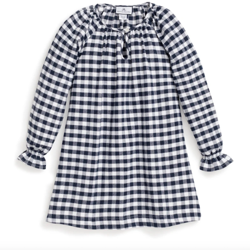 PETITE PLUME NAVY GINGHAM FLANNEL DELPHINE NIGHTGOWN