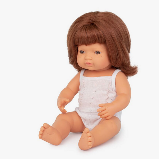 "MINILAND BABY DOLL CAUCASIAN REDHEAD GIRL 15"""