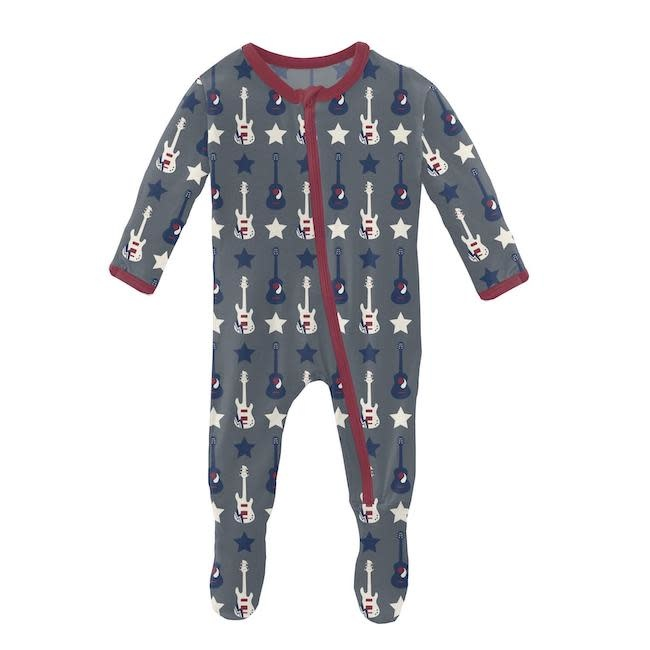 KICKEE PANTS PRINT FOOTIE WITH ZIPPER IN SLATE GUITARS AND STARS