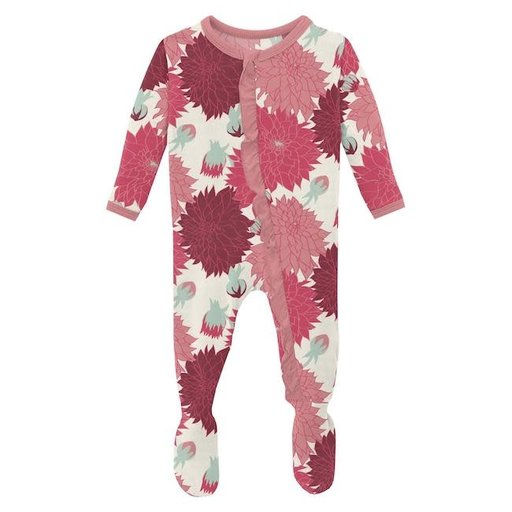 KICKEE PANTS PRINT CLASSIC RUFFLE FOOTIE WITH ZIPPER IN NATURAL DAHLIAS