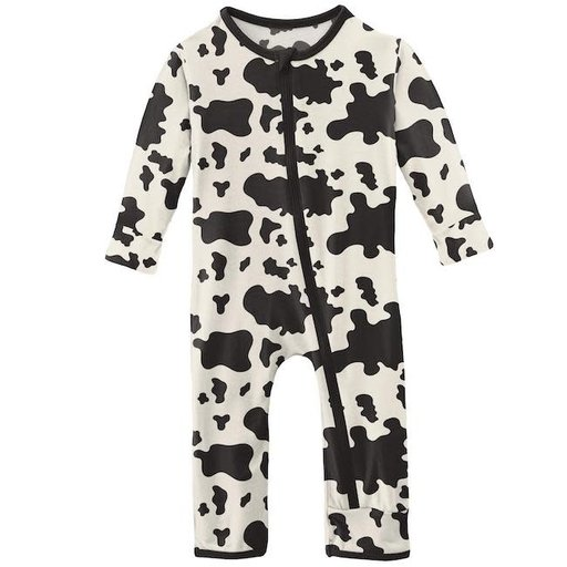 KICKEE PANTS PRINT COVERALL WITH ZIPPER IN COW PRINT
