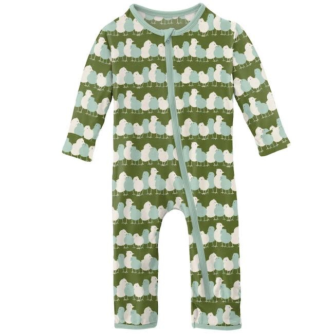 KICKEE PANTS PRINT COVERALL WITH ZIPPER IN MOSS CHICKS