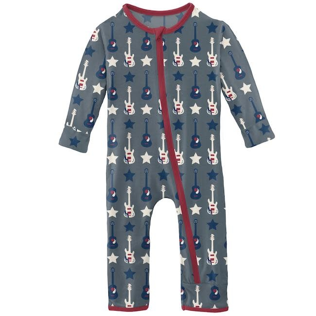 KICKEE PANTS PRINT COVERALL WITH ZIPPER IN SLATE GUITARS AND STARS