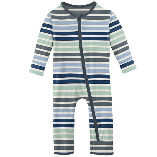 KICKEE PANTS PRINT COVERALL WITH ZIPPER IN FAIRGROUND STRIPE