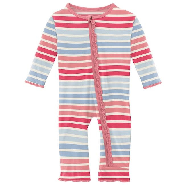 KICKEE PANTS PRINT MUFFIN RUFFLE COVERALL WITH ZIPPER IN COTTON CANDY STRIPE