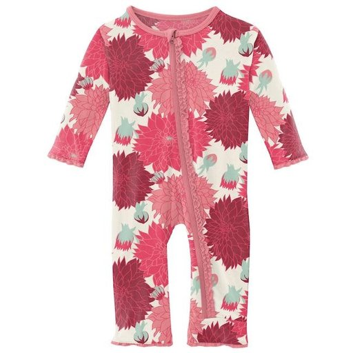KICKEE PANTS PRINT MUFFIN RUFFLE COVERALL WITH ZIPPER IN NATURAL DAHLIAS