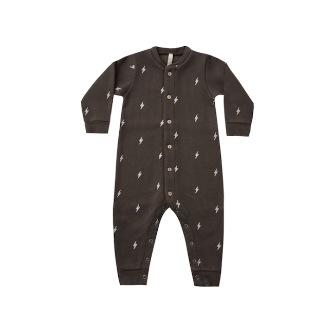 RYLEE AND CRU BUTTON DOWN JUMPSUIT IN LIGHTENING BOLTS