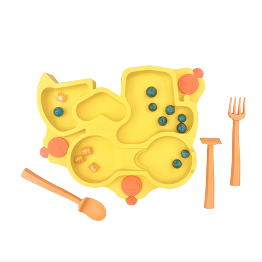 CONSTRUCTIVE EATING CONSTRUCTIVE BABY -YELLOW TRUCK PLATE SET