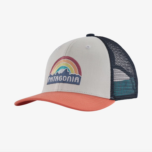 PATAGONIA KIDS' FITZ ROY RAINBOW TRUCKER HAT IN COHO CORAL