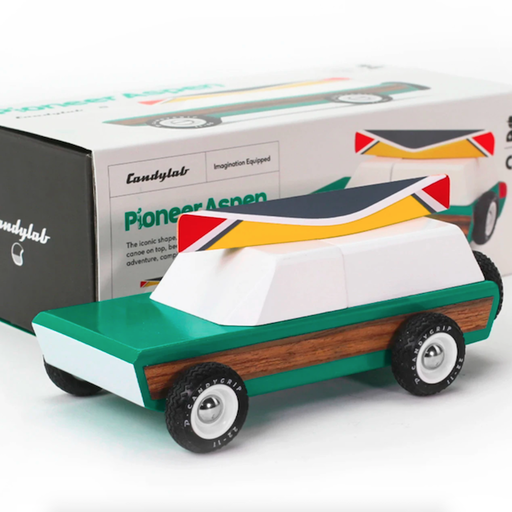 CANDYLAB TOYS PIONEER ASPEN SEAFOAM WOOD PANELED TRUCK WITH CANOE