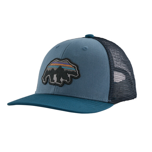 PATAGONIA KIDS' BACK FOR GOOD BEAR TRUCKER HAT IN PIGEON BLUE