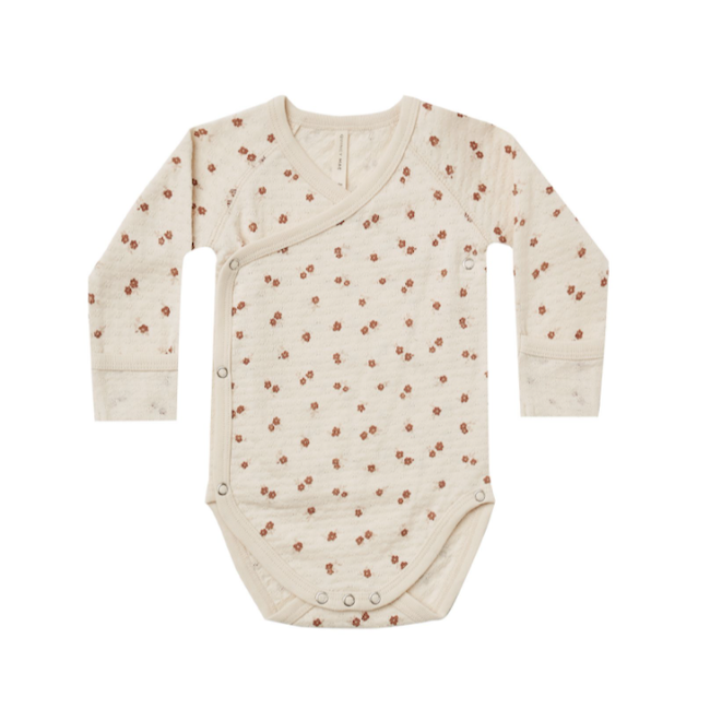 QUINCY MAE POINTELLE SIDE SNAP BODYSUIT IN FLORAL