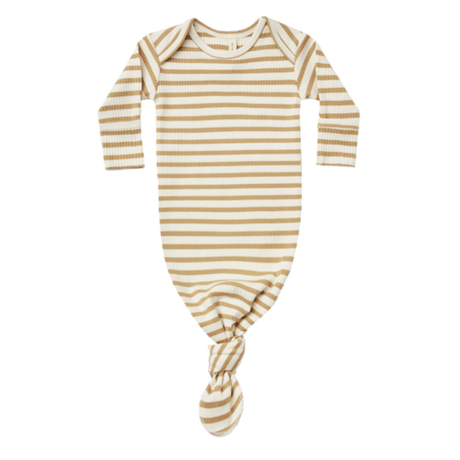 QUINCY MAE ORGANIC RIBBED KNOTTED BABY GOWN