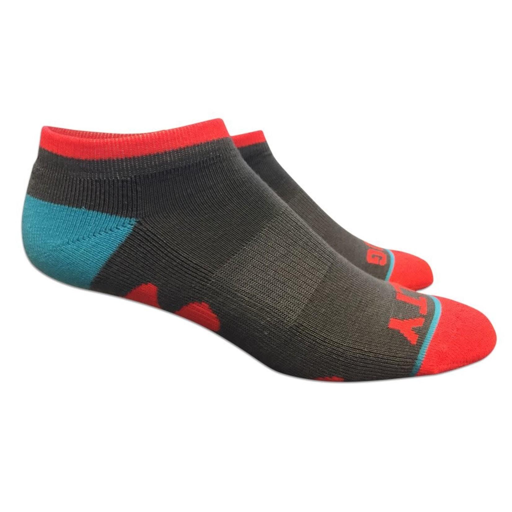 Socks-No Show, Grey/Coral