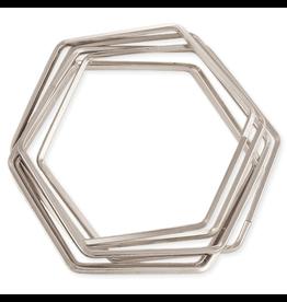JEWE Interlocking Hexagon Bangle Bracelets