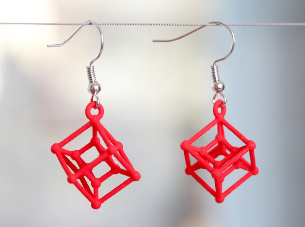 JEWE 3D Printed Hypercube Earrings | Hanusa Design