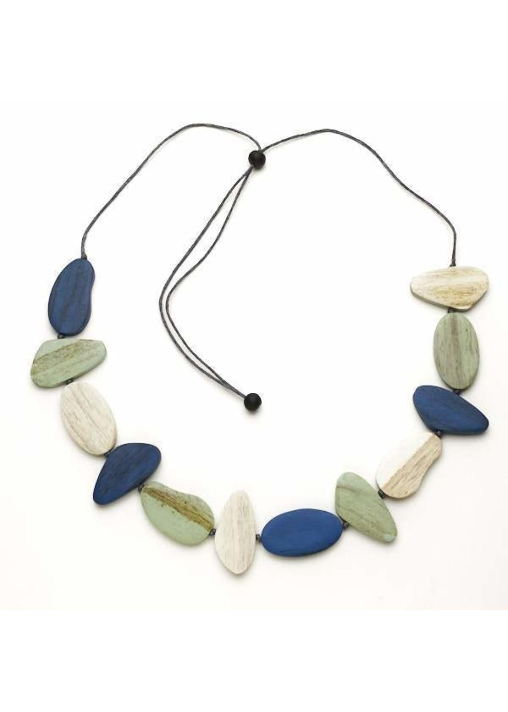 Suzie Blue Tinted Wooden Pebble Necklace   Suzie Blue