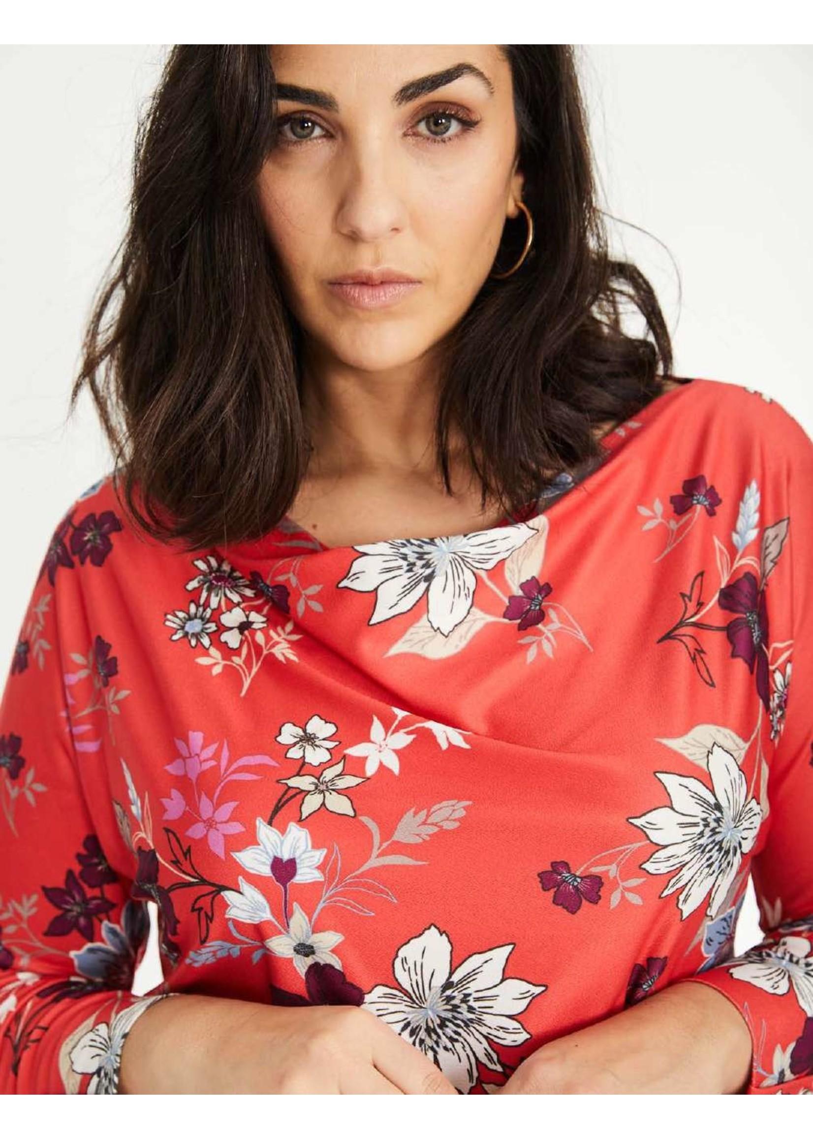 SPG Woman Flowered Drape Neck Top