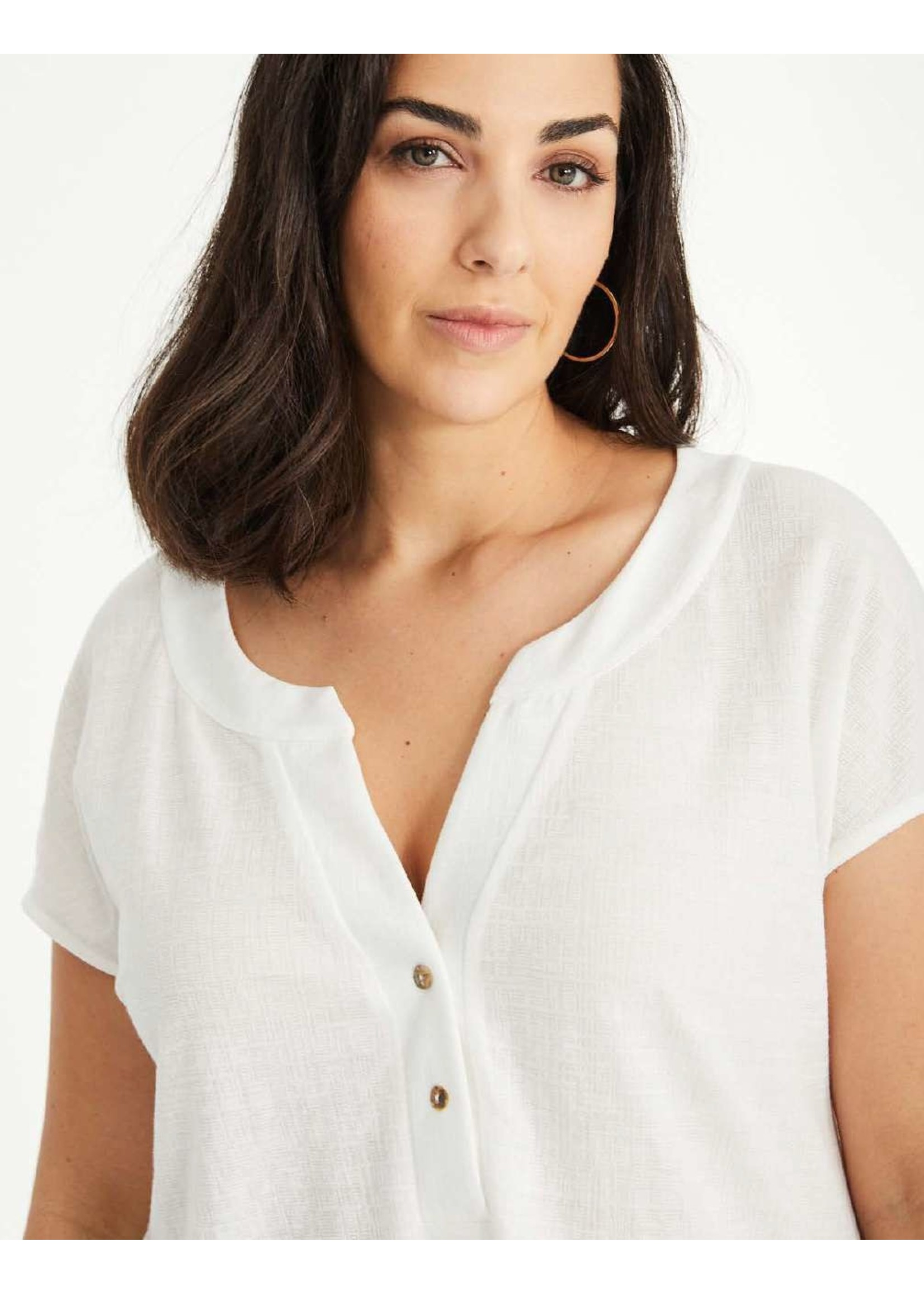 SPG Woman Short Sleeve Knit Top Button Up