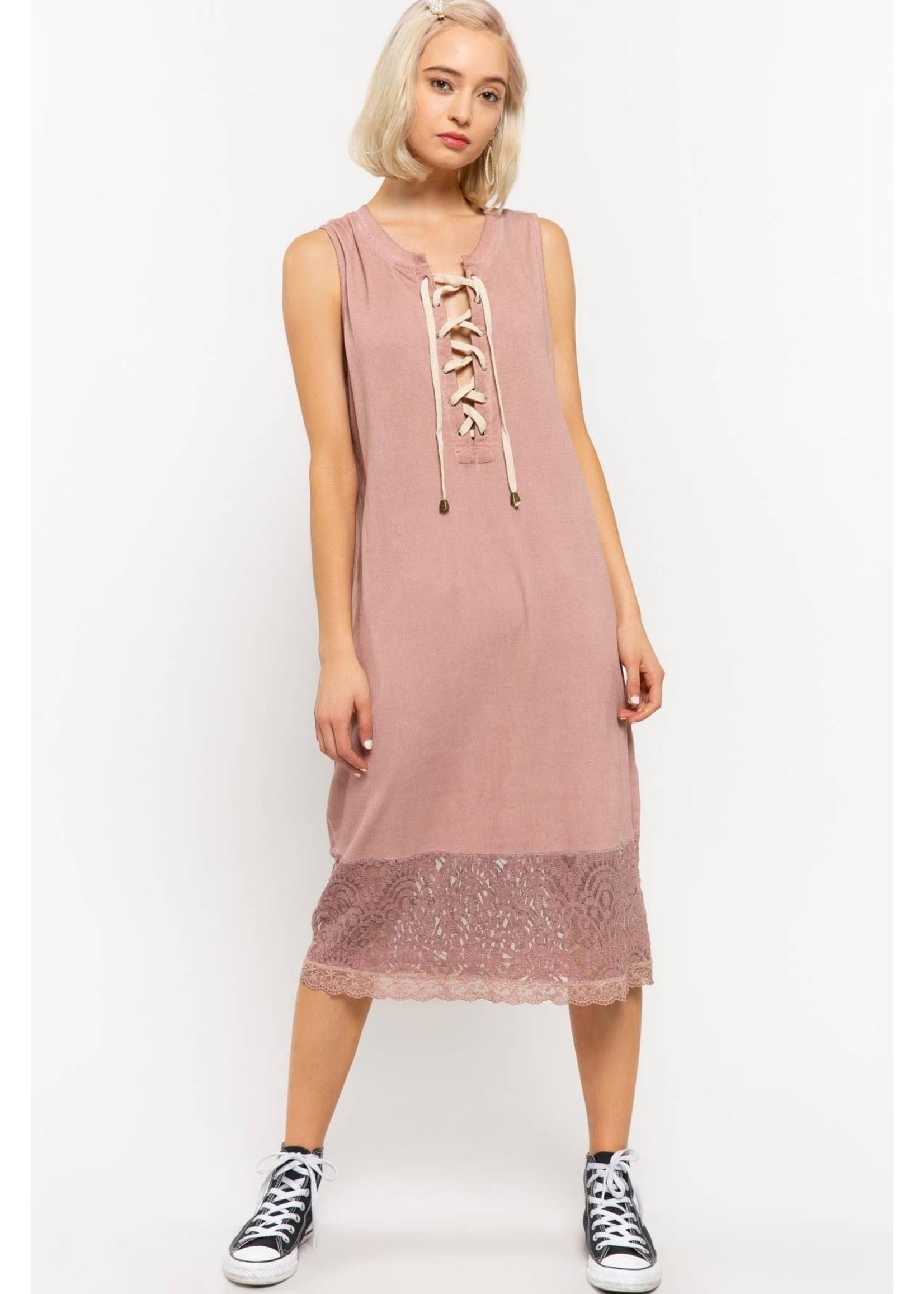POL Lace Tank Dress w/Tie