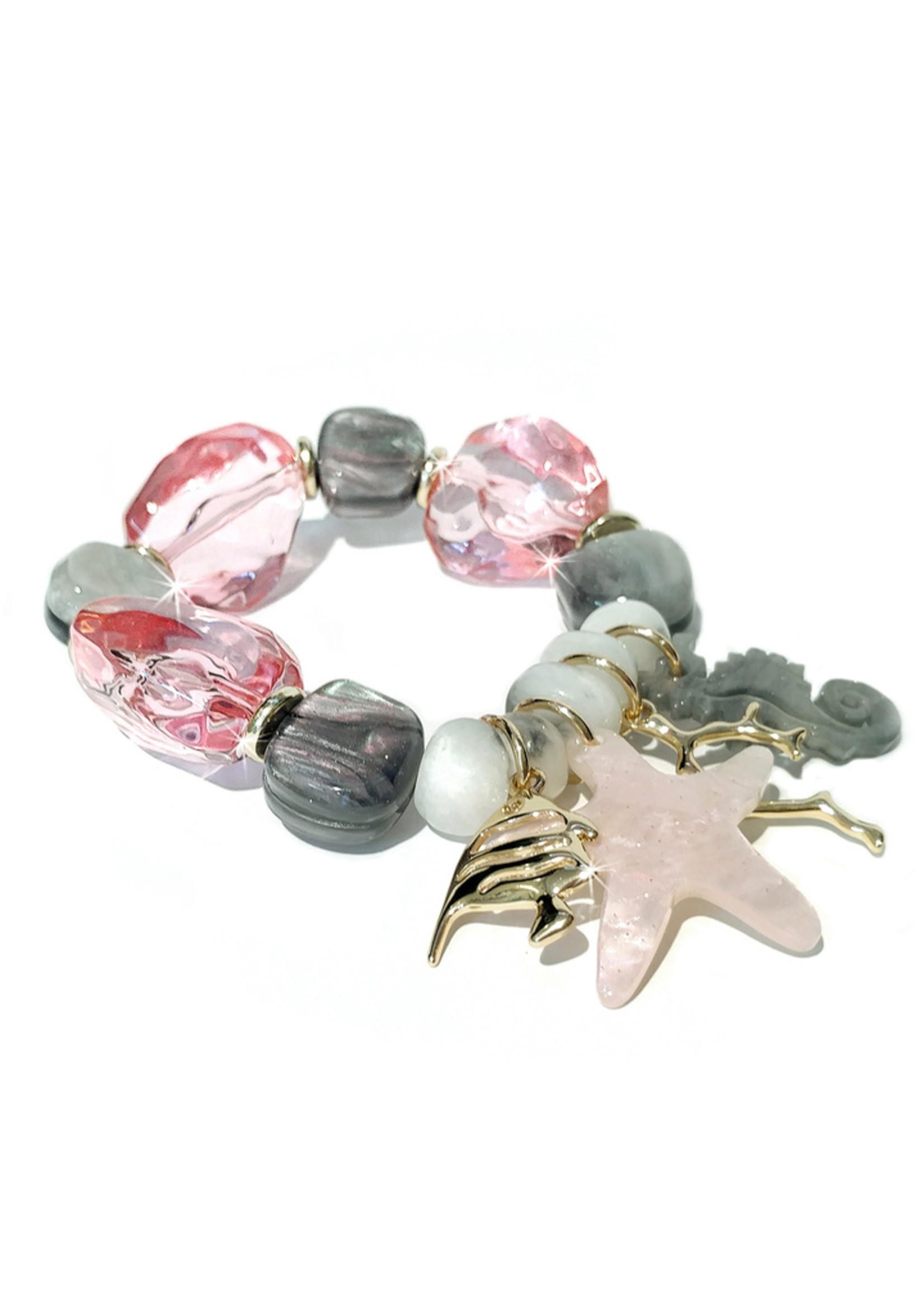 Jacqueline Kent Rock Candy Crystal Pink Grey Bracelet | JK