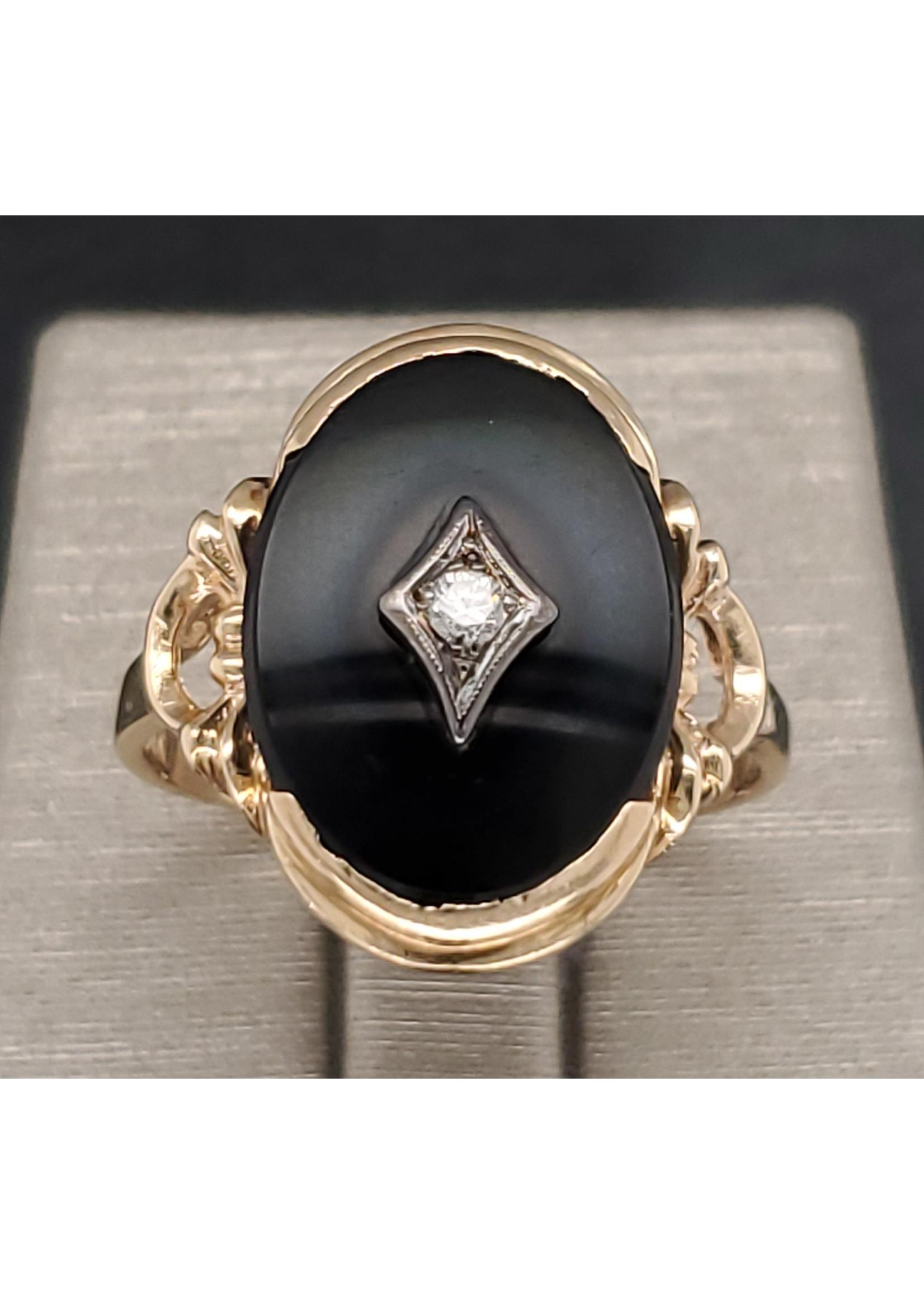 Vintage Jewellery Vintage Onyx Oval Ring | Sz 7.5