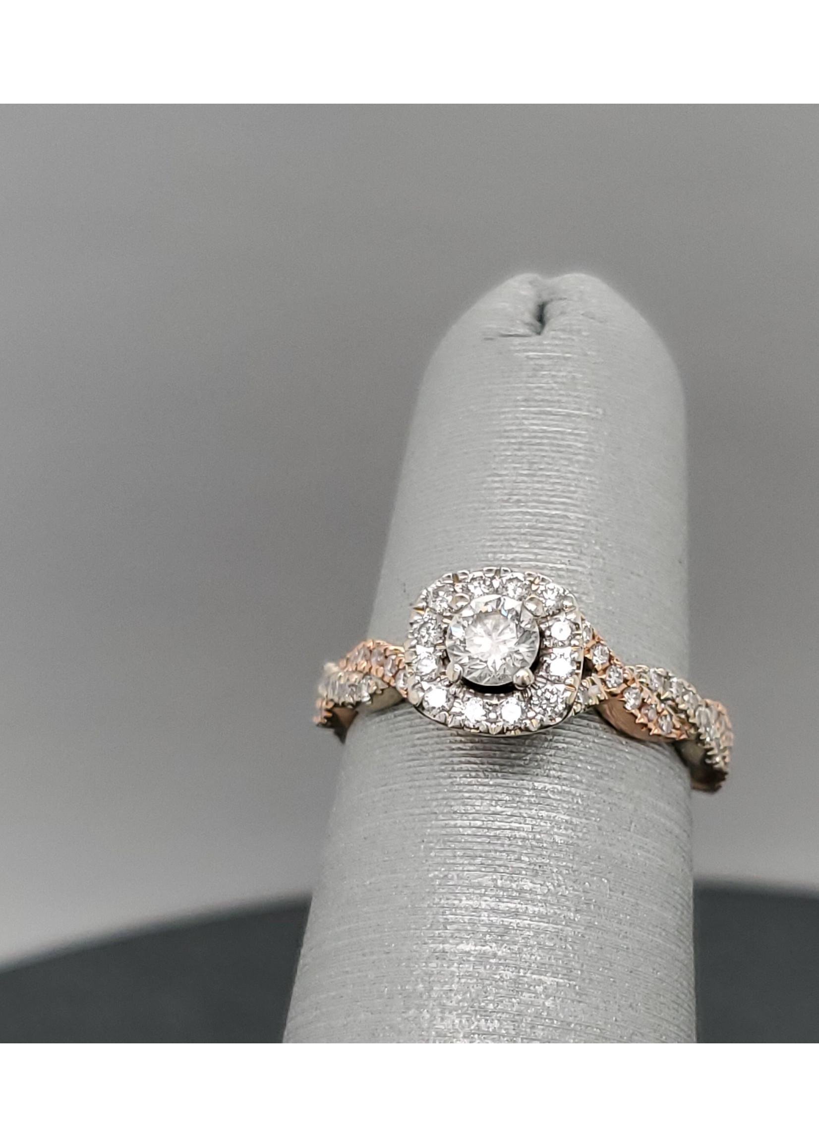 Vintage Jewellery Vintage 14k Neil Lane 2 Tone Halo Engagement Ring |  Sz 4.5 2mm band