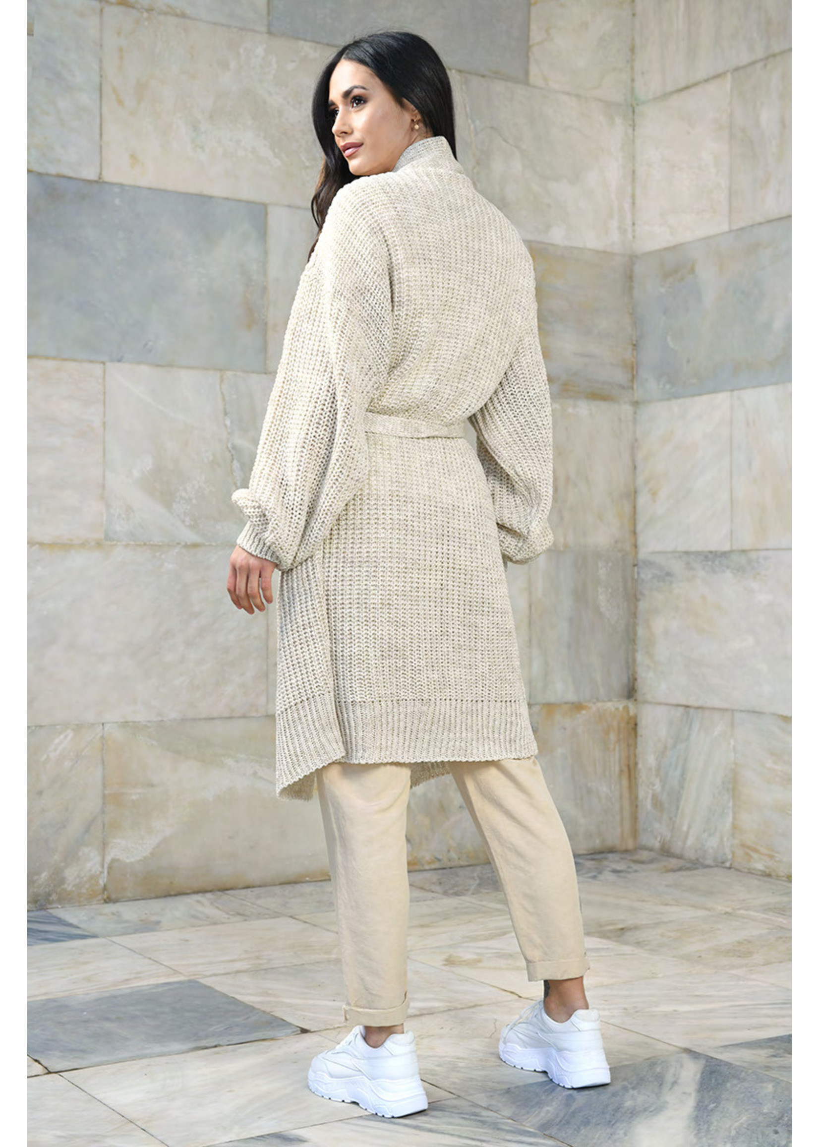 Vitesi Over Size Shaker knit Belted Sweater